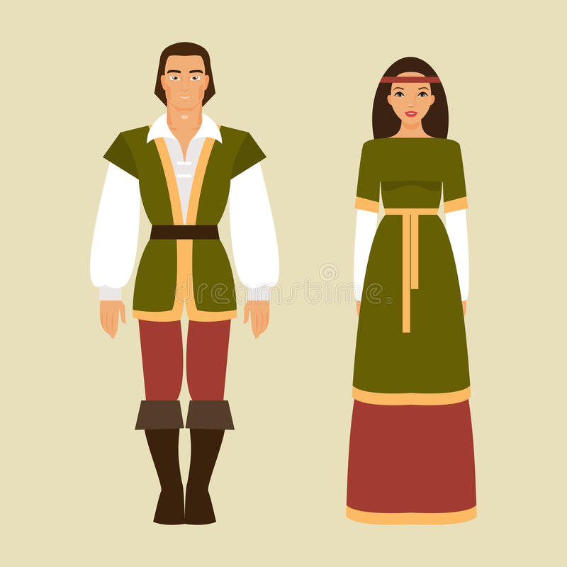 中世纪男人和妇女 也corel凹道例证向量 库存例证