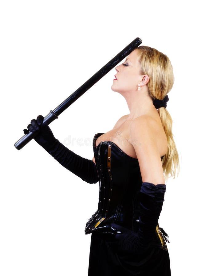 中世纪白种人妇女常设束腰和警棒 免版税库存照片