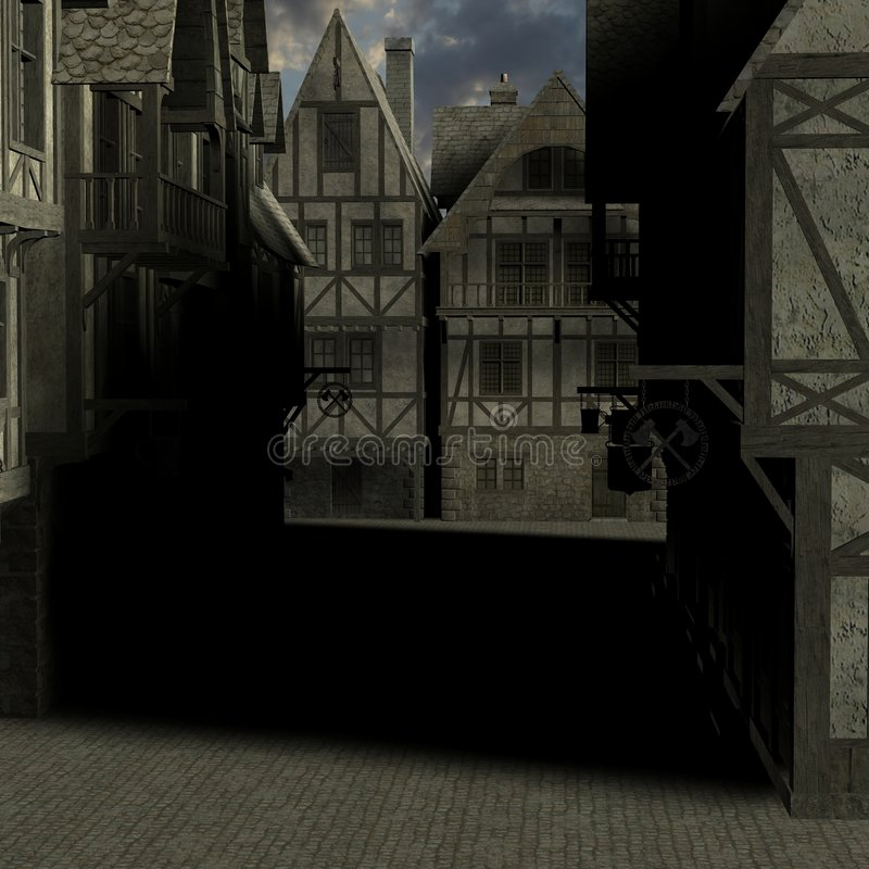 中世纪的城市 库存例证