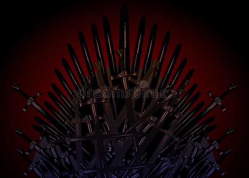 中世纪的手拉的铁王位由古色古香的剑或金属刀片制成 礼仪椅子被修造武器黑褐色 库存例证