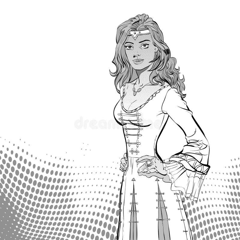 中世纪礼服的夫人 中世纪传奇 中世纪妇女 库存例证