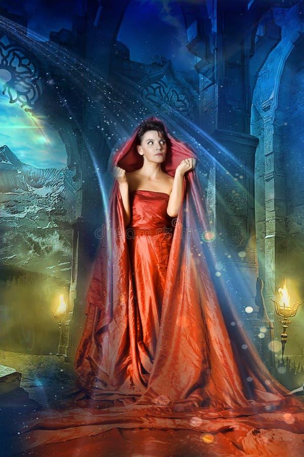 中世纪神秘的妇女 库存照片