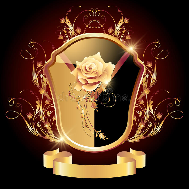 Download 中世纪纹章学盾华丽金黄装饰品 向量例证. 插画 包括有 外套, 卷毛, 例证, 标签, 靠山, 纹章学, 金黄 - 30330892
