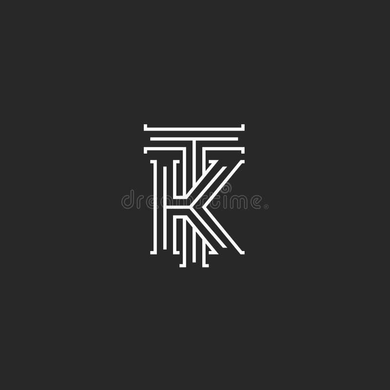 中世纪组合图案TK商标、组合最初T和重叠稀薄的线型的K大写字母,婚姻的邀请或者 向量例证