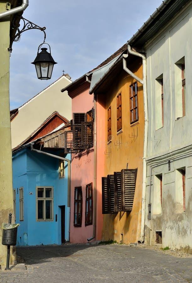 中世纪罗马尼亚sighisoara街道视图 库存图片