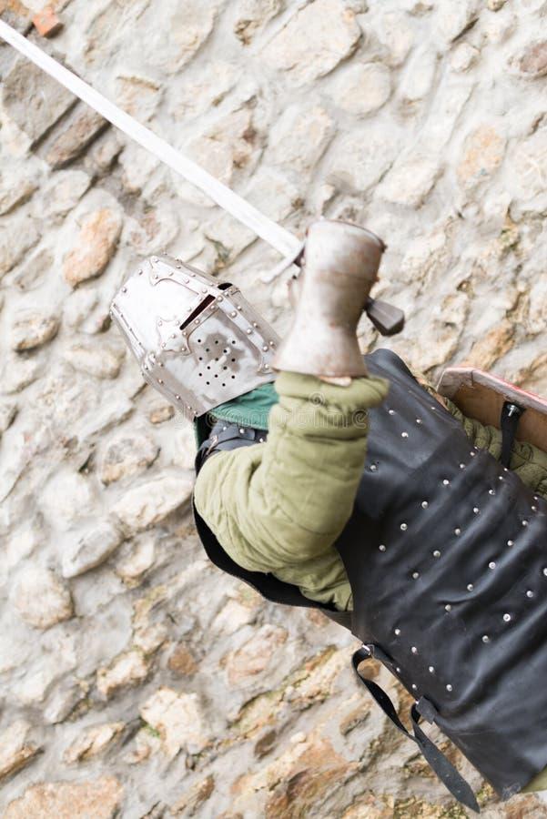 中世纪节日的中世纪骑士在欧洲 免版税库存图片