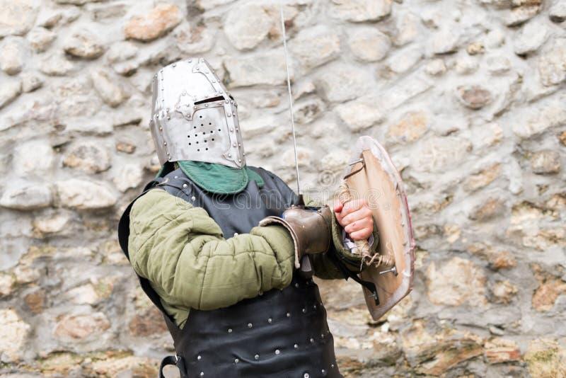 中世纪节日的中世纪骑士在欧洲 免版税图库摄影