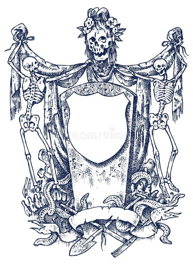 中世纪葡萄酒纹章 与书法元素的装饰品在巴洛克式的样式 被刻记的框架模板 装饰为 向量例证