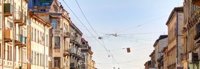 中世纪街道在利沃夫州的历史的中心 库存图片