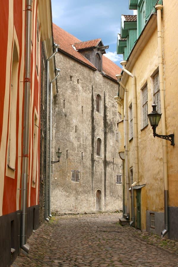 中世纪街道塔林 免版税库存照片