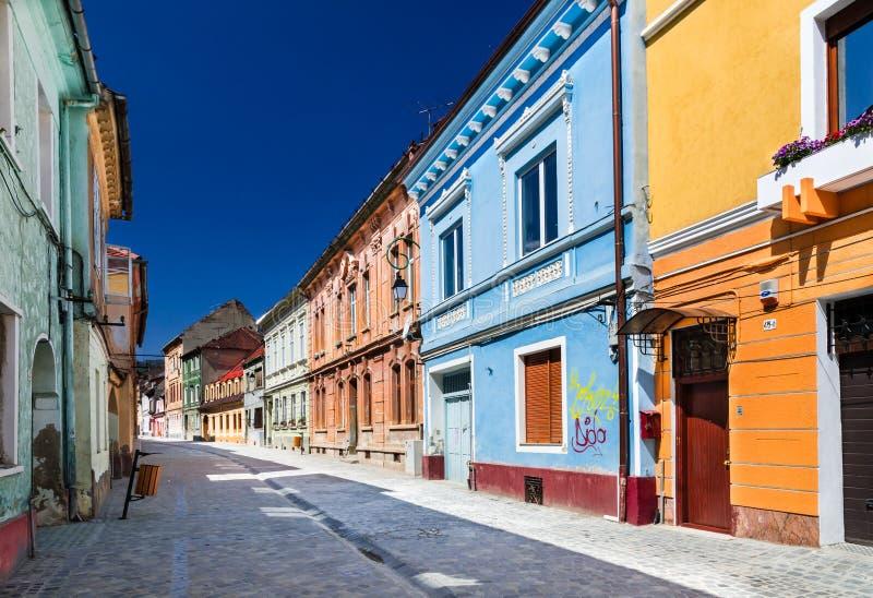中世纪街道在Brasov,罗马尼亚 库存图片