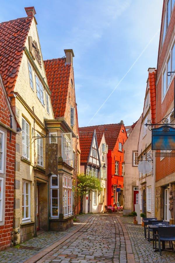 中世纪街道Schnoor在布里曼,德国 图库摄影