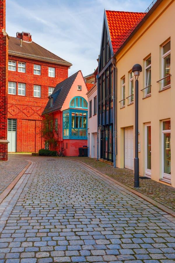 中世纪街道Schnoor在布里曼,德国 库存图片
