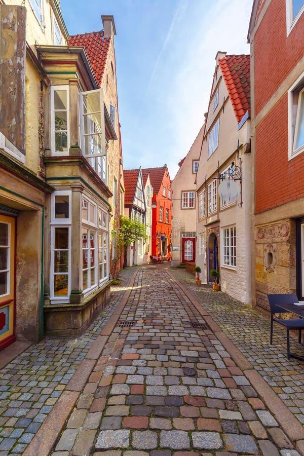 中世纪街道Schnoor在布里曼,德国 免版税库存照片