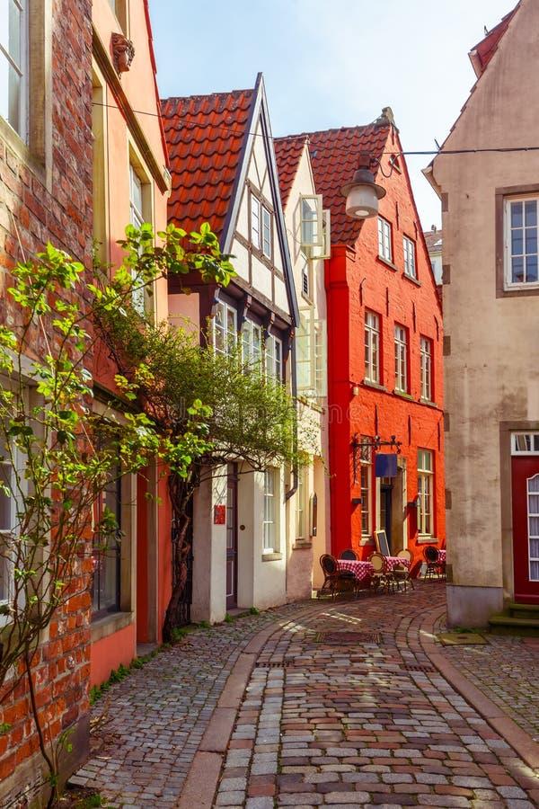 中世纪街道Schnoor在布里曼,德国 免版税库存图片