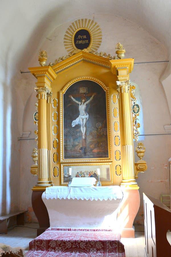 中世纪被加强的教会在阿夫里格,锡比乌,特兰西瓦尼亚 库存图片