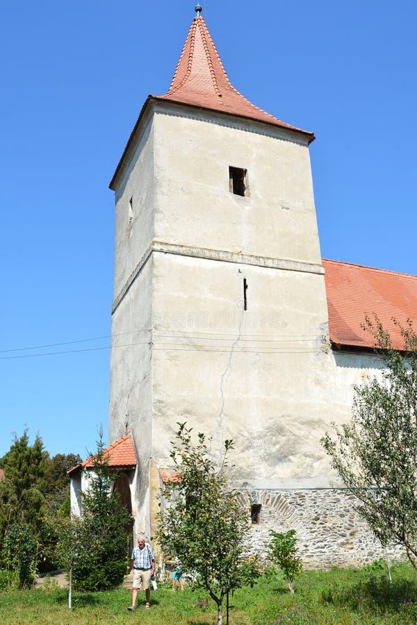 中世纪被加强的教会在阿夫里格,锡比乌,特兰西瓦尼亚 免版税库存图片