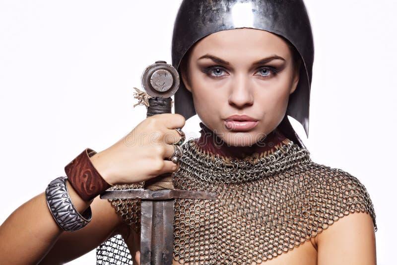 中世纪装甲女性的骑士 免版税库存图片