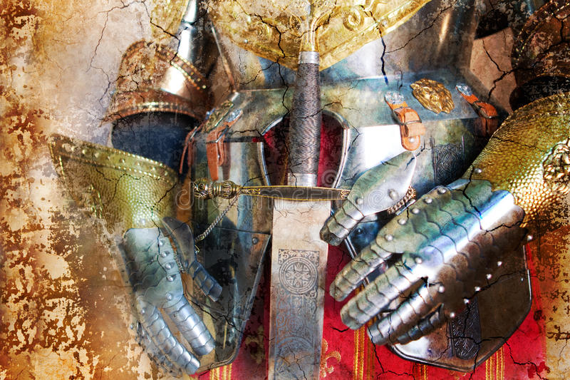 中世纪装甲的背景 库存例证
