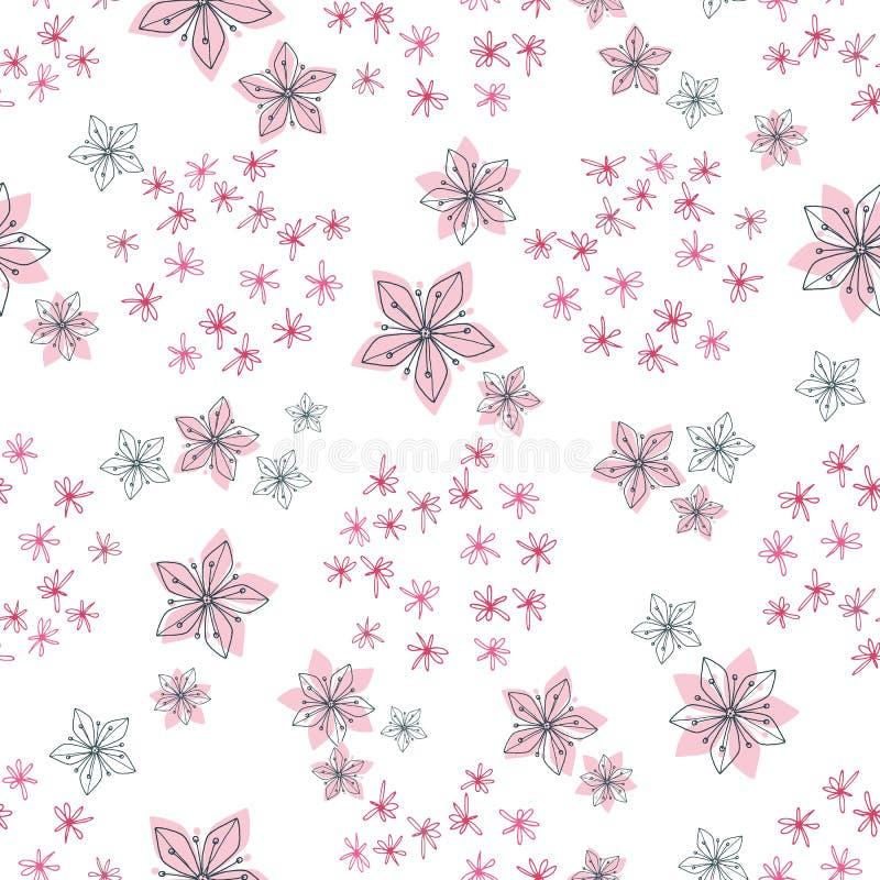 中世纪软的淡色和黑线减速火箭的花卉样式在圆的群安排的乱画花 模式无缝的向量 向量例证