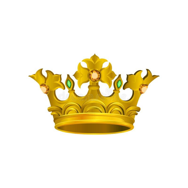 中世纪金黄冠现实象有橙色和绿色宝石的 首饰stor商标的传染媒介元素  向量例证