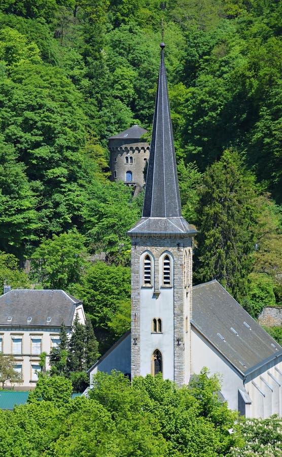 中世纪钟楼在卢森堡市 免版税库存图片