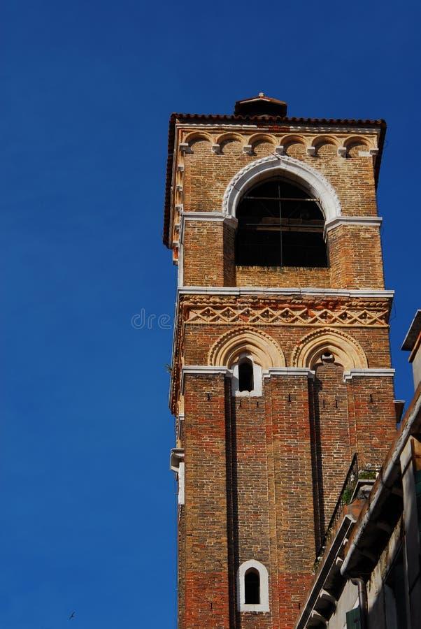 中世纪钟楼在威尼斯 库存图片