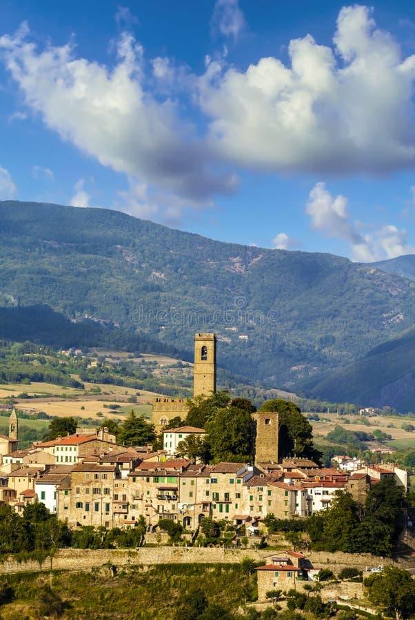 中世纪镇在托斯卡纳(意大利) 免版税库存图片