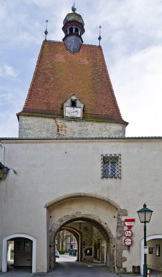 中世纪镇塔在市弗赖施塔特 库存照片