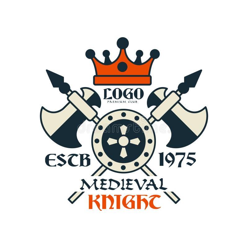 中世纪骑士商标、escb 1975年,葡萄酒徽章或者标签,纹章元素传染媒介例证 皇族释放例证