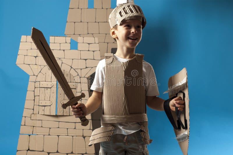 中世纪骑士孩子 免版税库存照片