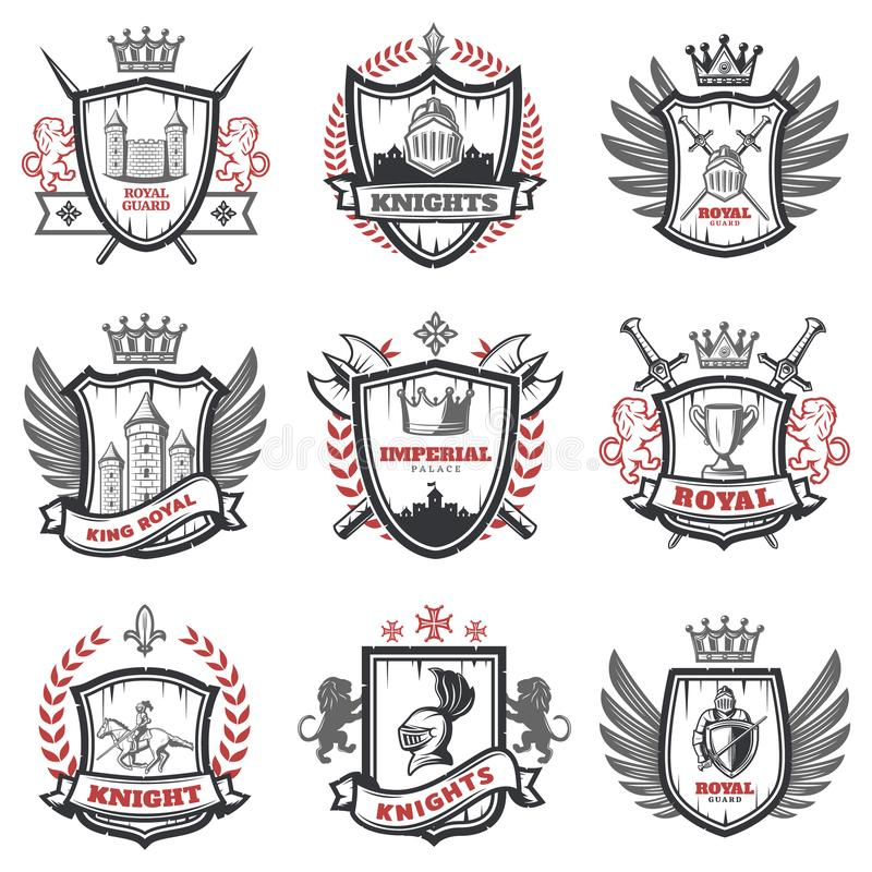 中世纪骑士徽章集合 向量例证