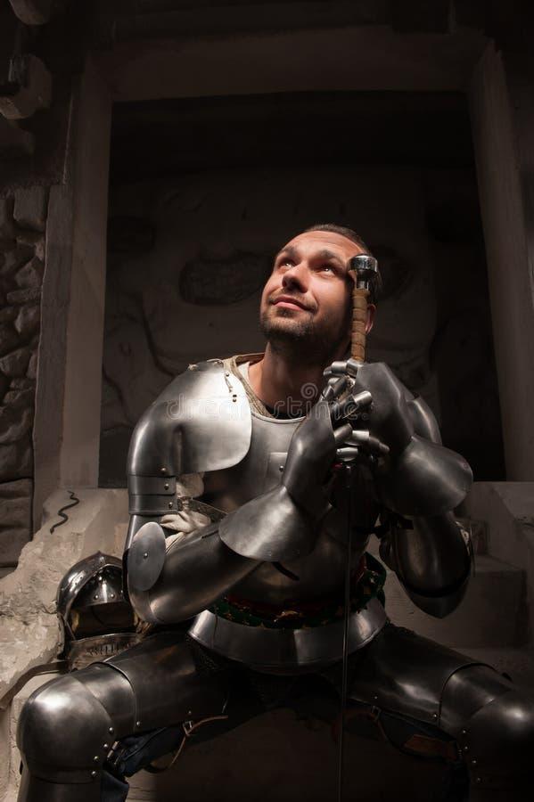 中世纪骑士情感画象  图库摄影
