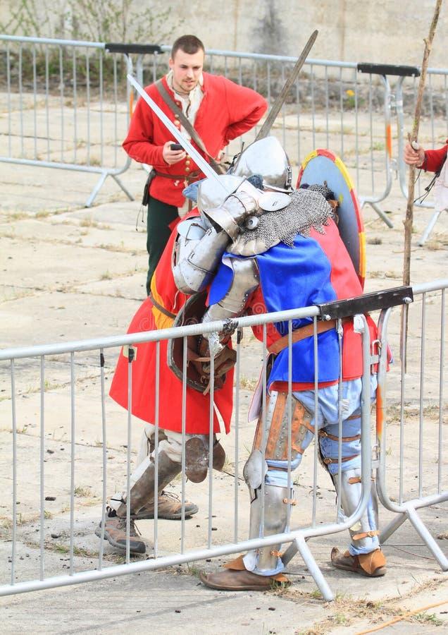 中世纪骑士战斗 免版税图库摄影