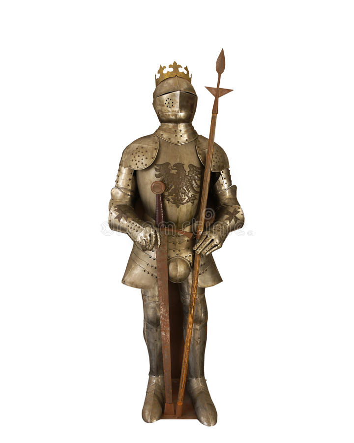 中世纪骑士装甲,被隔绝 库存例证
