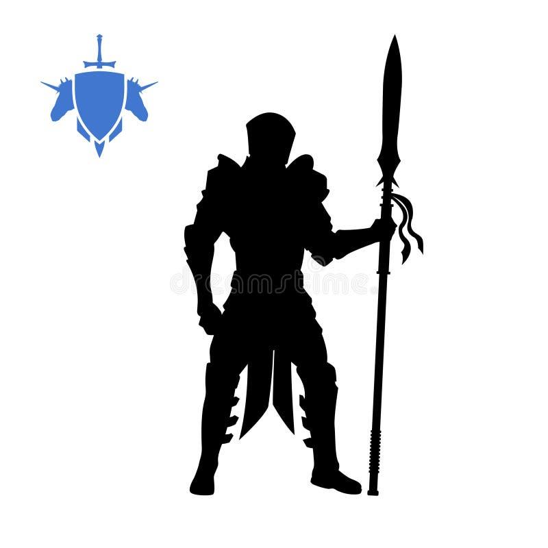 中世纪骑士黑剪影有矛的 幻想字符 战士比赛象  战士被隔绝的图画  库存例证