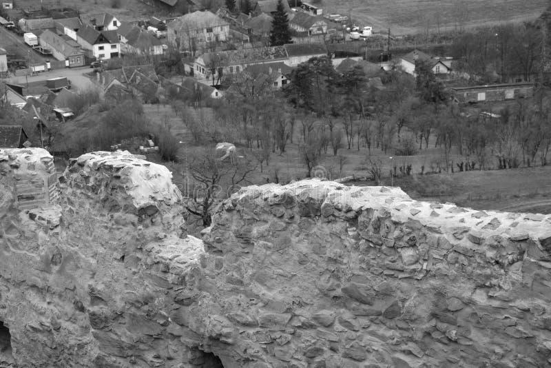 中世纪鲁佩亚浪子堡垒的墙壁在特兰西瓦尼亚,罗马尼亚 库存图片