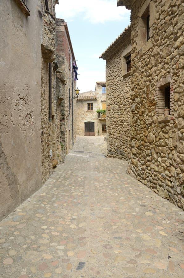 中世纪鹅卵石胡同 库存图片