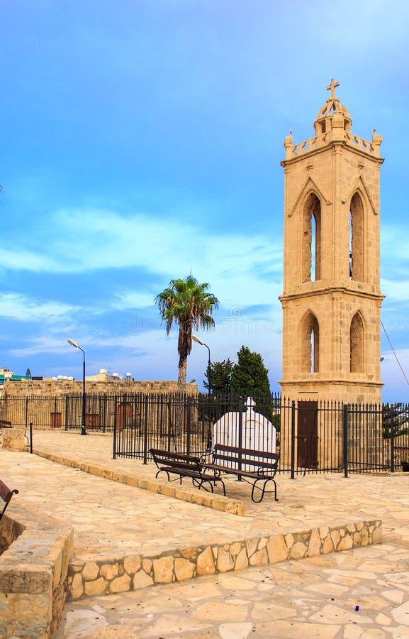 中世纪Agia纳帕修道院钟楼  库存图片