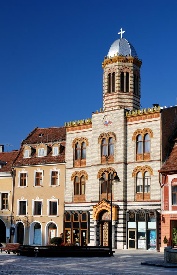 中世纪brasov拜占庭式的教会 库存照片