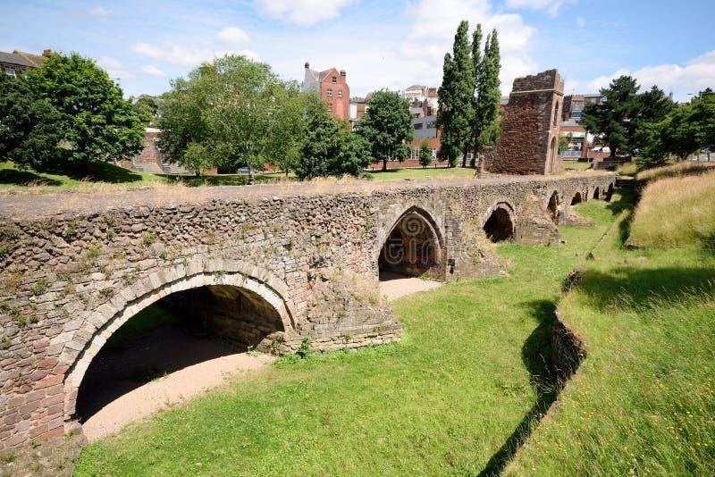 中世纪Exe桥梁的遗骸 库存照片