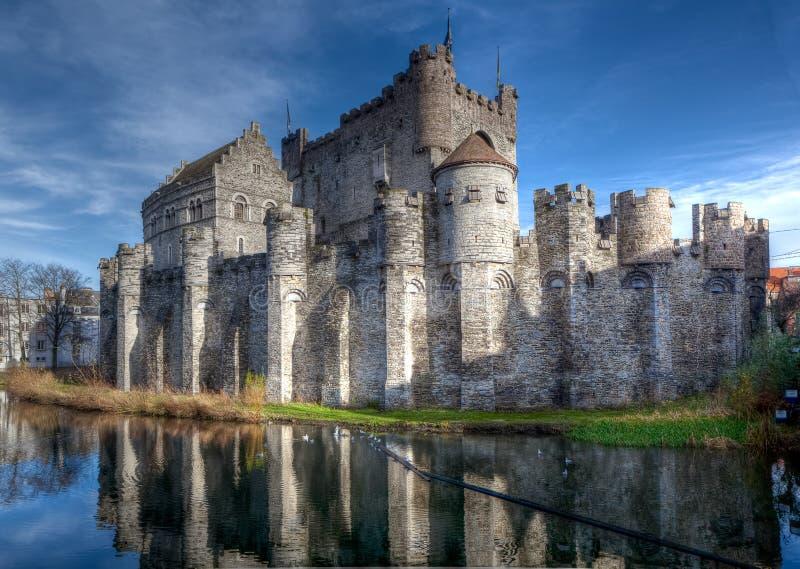 中世纪Gravensteen城堡在跟特,比利时 库存照片