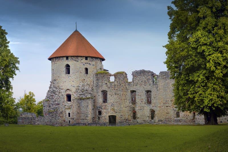 中世纪livonian城堡废墟在Cesis 免版税库存照片