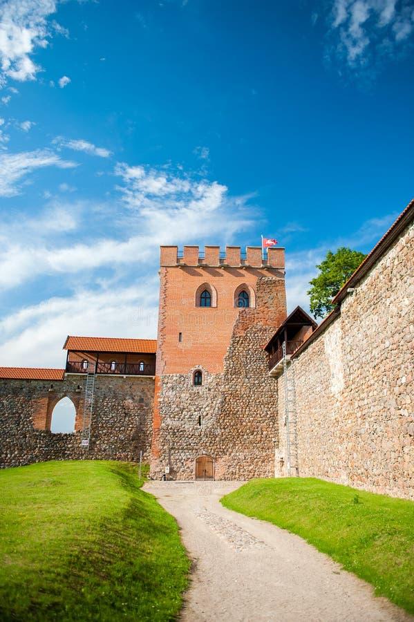 中世纪Medininkai城堡在维尔纽斯区,立陶宛 免版税库存照片