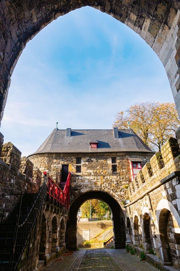 中世纪Ponttor在亚琛,德国 库存图片
