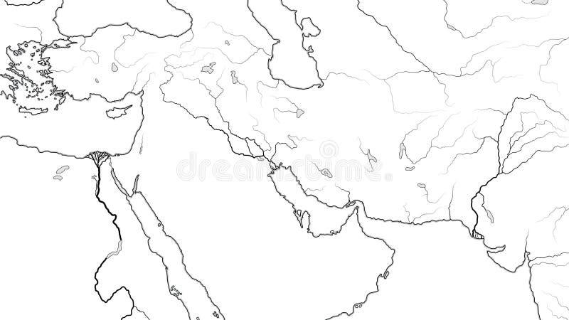 中东地区世界地图:小亚细亚,黎凡特,近东,中东地理图 库存例证
