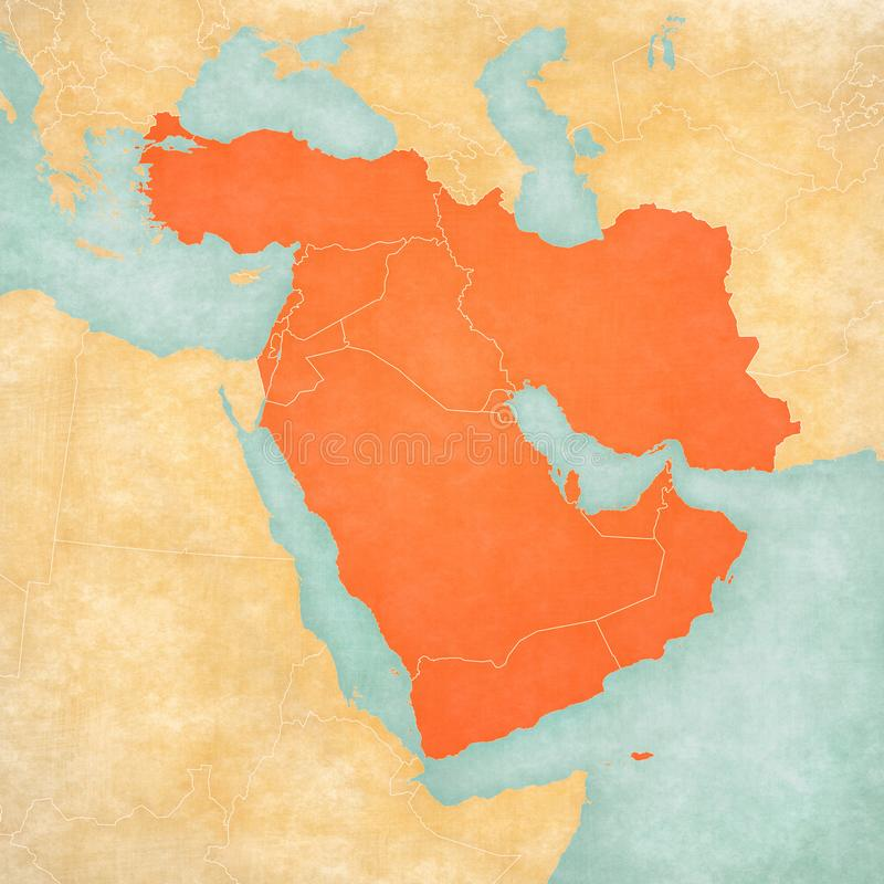中东地图-所有国家 向量例证