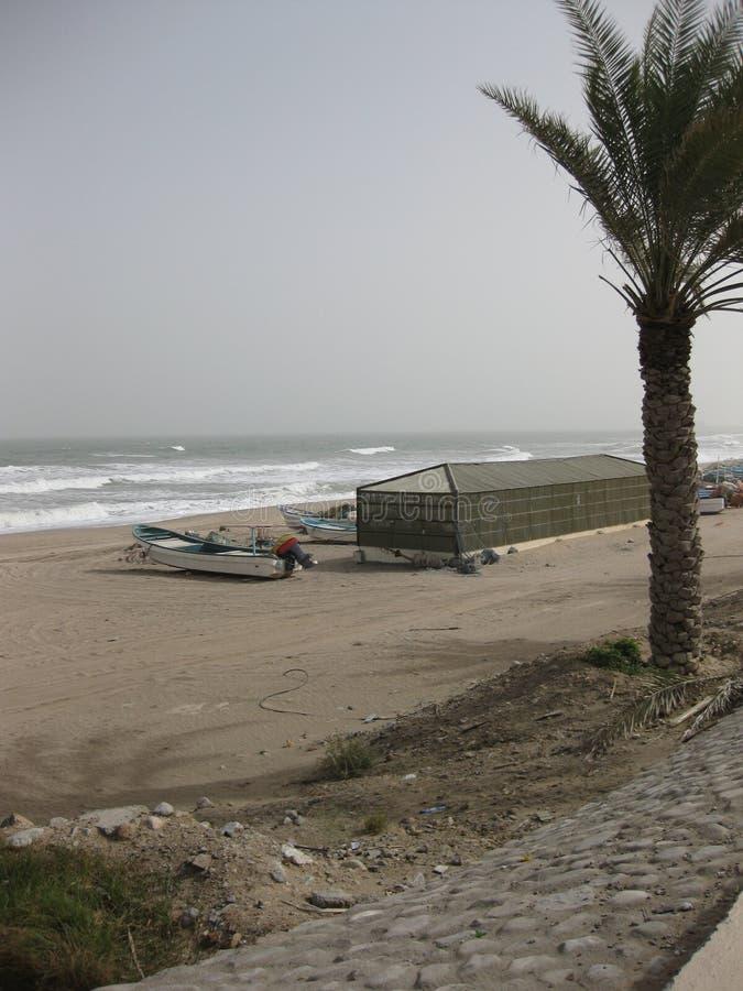 中东或非洲,美丽如画的沙漠海滩在马斯喀特附近的阿曼使风景摄影环境美化 图库摄影