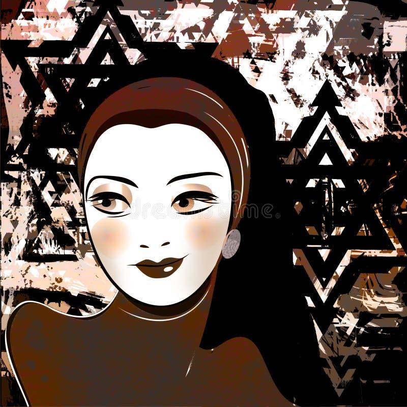 中东美丽的女孩,风格化减速火箭的图片 库存例证