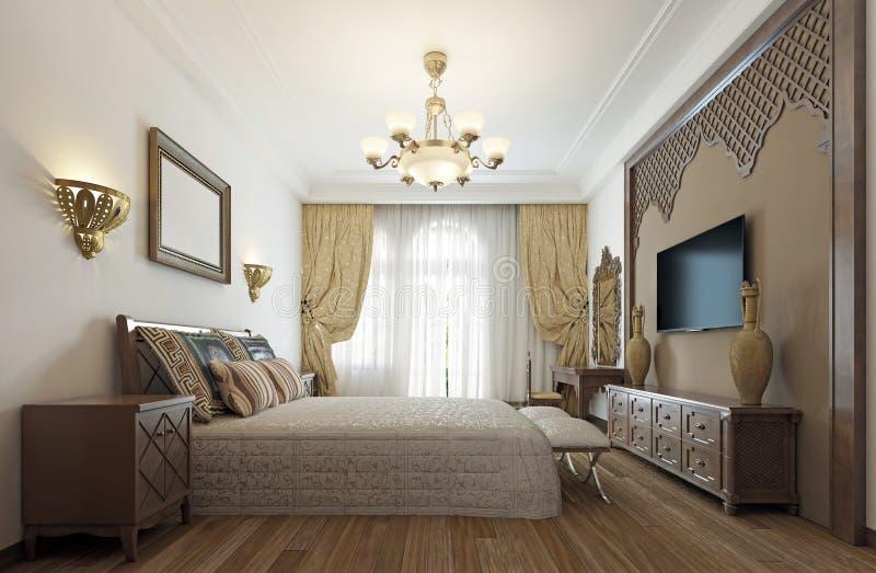 中东阿拉伯样式的卧室与豪华woode 皇族释放例证